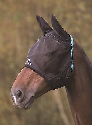 NEW Shires Horse Pony Fine Mesh Fly Mask With Ears - Black / White - ALL SIZES