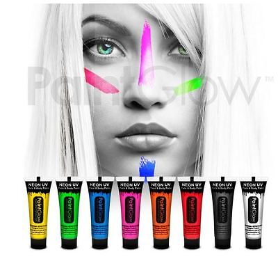 Paint Glow UV Face Paint UV Body Paint 10ml Tube Face & Body Paint By Paintglow