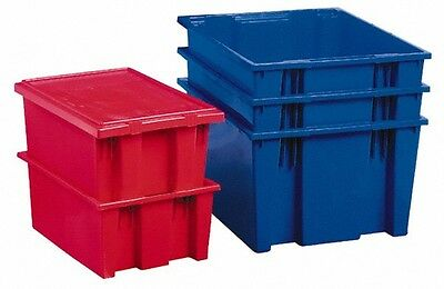 """Akro-Mils 3.7 Cu. Ft. Blue Polyethylene Tote Container 29.5"""" Long x 19.5"""" Wid..."""