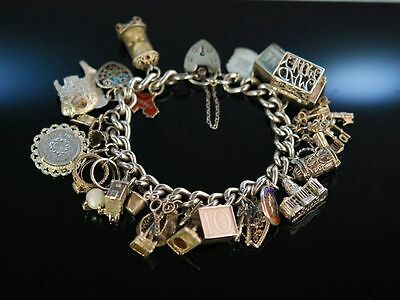 Heavy Vintage Charm Bracelet! Massives Bettel Armband Silber 925 London Um 1965