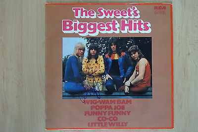 """The Sweet Autogramm signed LP-Cover """"The Sweet´s Biggest Hits"""" Vinyl"""