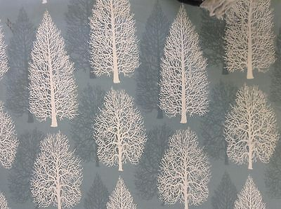 Fir Trees Stone Blue Cotton  Curtain/Craft Fabric