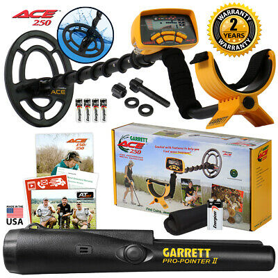 Garrett ACE 250 Metal Detector w/ Waterproof Coil and Pro Pointer II Pinpointer