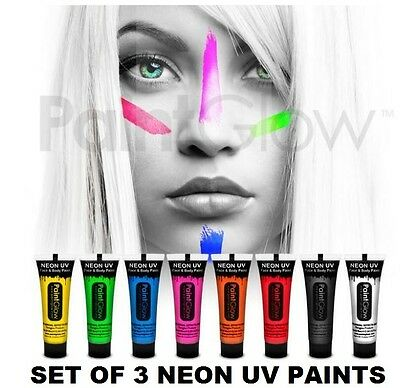 Set of 3 Paint Glow UV Face Paint UV Body Paint 10ml Tube Face & Body Paint