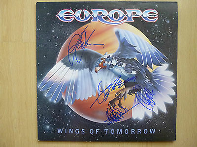 """Europe Autogramme signed LP-Cover """"Wings Of Tomorrow"""" Vinyl"""