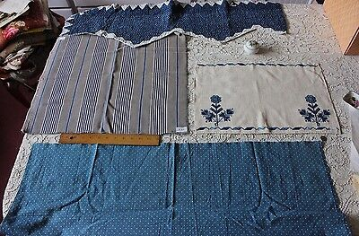 4 Antique 19thC French Farmhouse Indigo Cotton Fabrics~Design Bundle