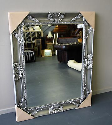 Brand New - Huge Ornate French Baroque Style Silver Floor Or Wall Mirror