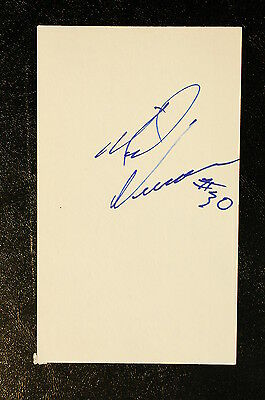 Mike Vernon Index Card Hand Autographed