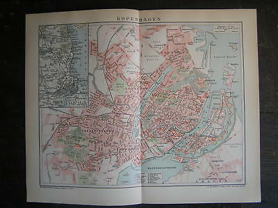Antique map Copenhagen Kopenhagen Denmark 1895
