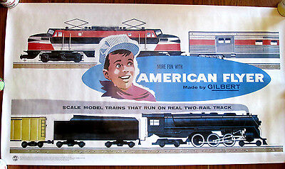 ".""MORE FUN WITH AMERICAN FLYER""  ""Made by Gilbert"" 20"" x 36"" POSTER...by TCA!"