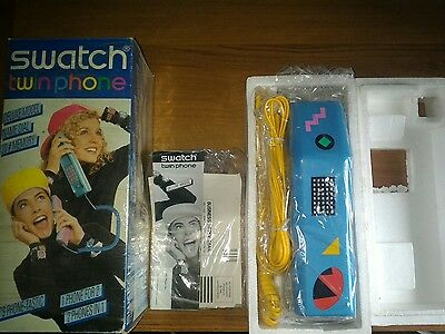 SWATCH TWIN PHONE PUZZLE PIECES XP 100 NEVER USED IN BOX 1980's NUOVO MAI USATO
