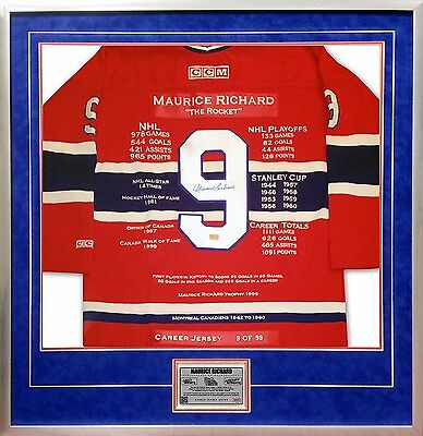 Maurice Richard Framed Career Jersey Signed #9 of #/199 - Montreal Canadiens
