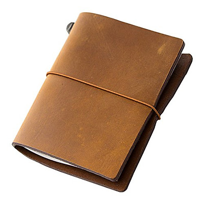 Midori Traveler Vintage Camel Leather Notebook Diary, Writing Journal Book New