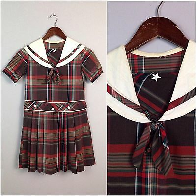 Vintage 1950s Girls Red Brown Plaid Sailor Style Cotton Dress Pleated Skirt