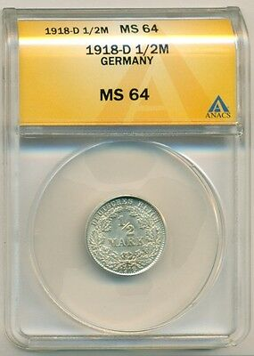 Germany Empire Silver 1918 D 1/2 Mark UNC MS64 ANACS