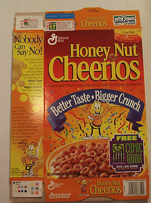 Honey Nut Cheerios Comic Book 1989 Cereal Box