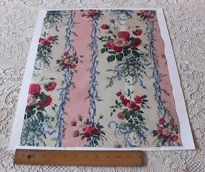 Antique French c1870 Cabbage Rose & Ribbons Chintz Sample Fabric Textile