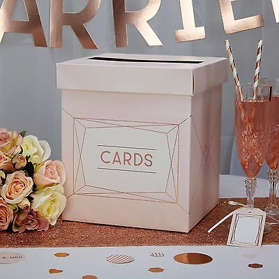 WEDDING CARD POST BOX Pink Rose Gold GEO BLUSH Geometric Receiving Posting Mail