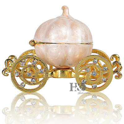 Handmade Metal Pumpkin Carriage Ring Jewellery Trinket Box Great Christmas Gift