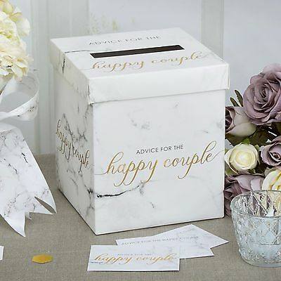 WEDDING WISHES POST BOX Advice SCRIPTED MARBLE Effect Receiving Posting Wish