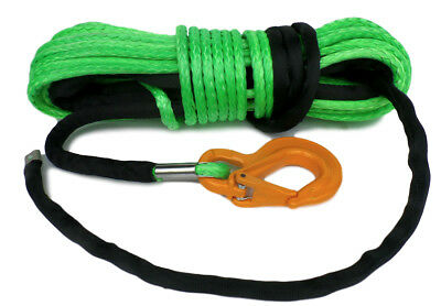 Synthetic Winch Rope & Hook, 100ft 10mm 10500KG Dyneema SK75  self recovery 4x4.