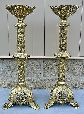 + Pair of 100 Year Old French Brass Altar Candlesticks + church co. (CU571)
