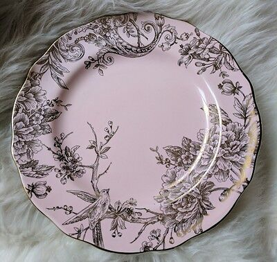 222 Fifth Pink Gold Metallic Adelaide Spring Toile Dinner Plates  New