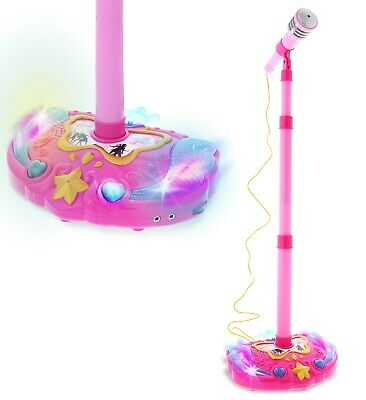 Mozlly Pink Children's Karaoke Mic with Stand Music