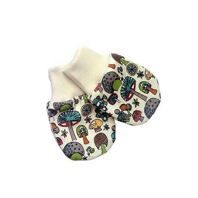 Newborn Organic Cotton Baby No-Scratch Mittens / Mushroom Print/ Handmade