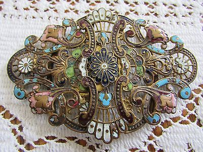 Victorian French Belt Buckle Champleve Enameling Filigree Stunning