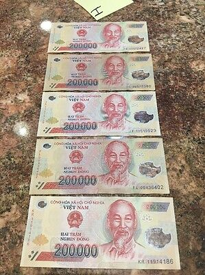 Vietnam 200,000 X 5 Pieces (PCS) = 1 Million Dong Currency VND Banknotes VNN (I)