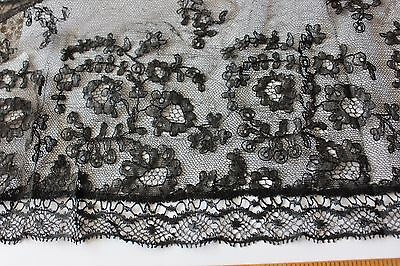 """French Antique 19thC Handmade Chantilly Lace Lappet/Scarf~1 yd 20""""L X 8""""W"""