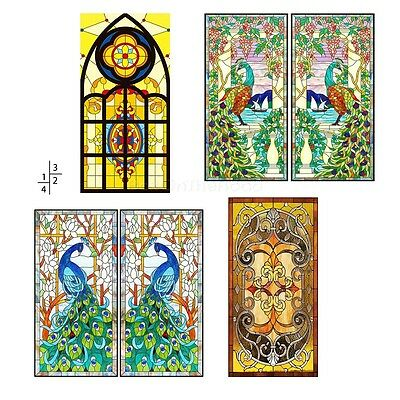 Vintage Flowers Stained Glass Decorative Window Film Cling Static Privacy Films