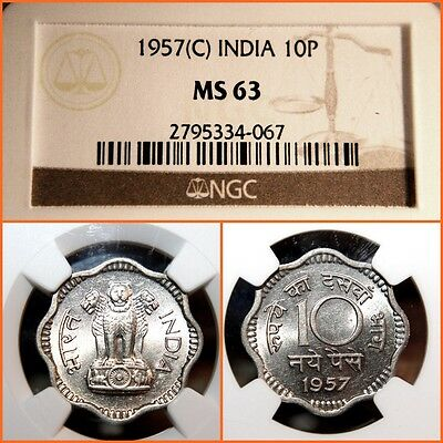 India  1957  C  10 Paise  Ngc  Ms-63