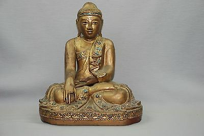 "Antique Gold Gilt Wood Carved Sitting Mandalay Burma Buddha Statue 14"" Tall"
