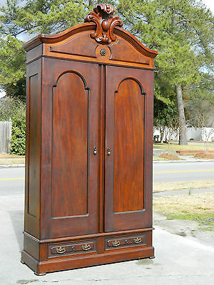Walnut Victorian Renaissance Two Door Wardrobe Armoire 111 Inches Tall