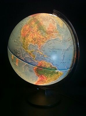 Scan globe World Map Illuminated lamp Denmark 30cm diameter. Stands 40cm VGC