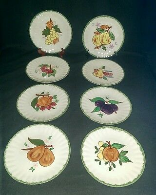 Blue Ridge Pottery Southern Potteries Set of 8 Plates 2nd 20th Anniversary Gift