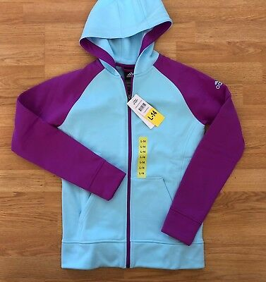 Adidas Hoodie Fleece Full Zip Frozen Blue Shock Purple Girls Womens