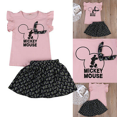 Toddler Baby Kids Girls Outfit Set Party T Shirt Top + Princess Dress Clothes