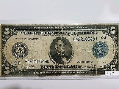 1914 $5 Five Dollar Large Bill Federal Reserve Note - New York, NY