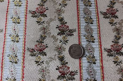 Antique French 19thC Lyon Silk Brocade Lampas Sample Fabric~Roses &Ribbons~Dolls