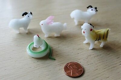 Vtg Hand Made Color Glass Chinese Zodiac Animals Snake Goat Rabbit Tiger 5 Pc
