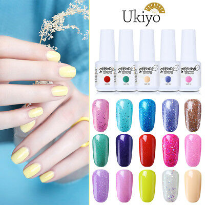 Ukiyo 15ML Soak Off UV LED Gel Polish Candy Glitter No Wipe Top Base Coat