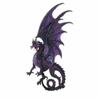 "Large 34""H Purple Dragon Wall Plaque Wall Decor Figurine Resin Collectible"