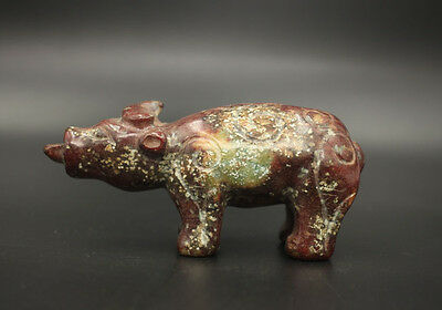 Chinese antiques jade Carving mighty oxen Statues Decoration