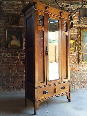 Fabulous Antique Single Wardrobe Arts & Crafts Copper Edwardian Armoire Mirror