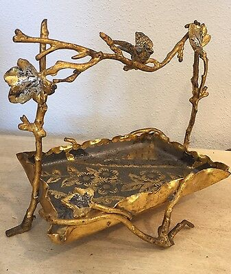 Antique Victorian Silver & Gold Gilt Metal Calling Card Tray Dish Figural Bird