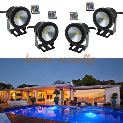 16 Color RGB Remote 1/2/3/4 LED Garden Outdoor Underwater Fountain Pond Lights