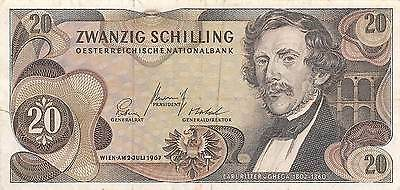 austria  20/- 2.7.1967  P 142a  circulated Banknote
